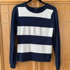 NEW! J.Crew Painted Stripe Sweatshirt in Navy XS
